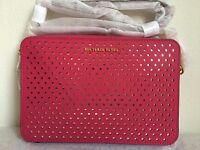 NWT!! MICHAEL KORS Large E/W Perforated Saffiano Leather Crossbody Bag $168