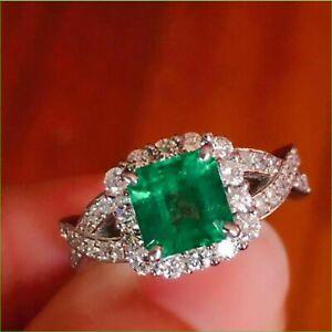 4.00 ct Asscher Cut Green Emerald Solitaire Halo Wedding Ring 14k White Gold Fn