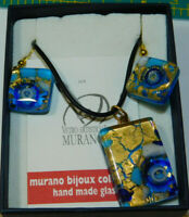 Murano Dichroic Blue Gold Art Glass Pendant necklace and Earrings Set  3k 36