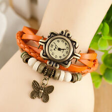 Female Women Vintage Fashion Butterfly Bracelet Faux Leather Quartz Wrist Watch