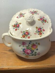 Vintage Ceramic Chamber Pot, pink roses never used, Mint w/lid