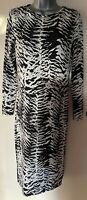 Topshop Black & White Zebra Print Midi Stretch Bodycon Dress Size 12