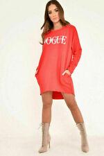 Women Ladies High Low Dip Hem Vogue Slogan Jumper Baggy Oversized Dress Top 8-18