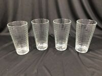 """Vintage Set of 4 Mid Century Clear Faceted Drinking Glasses 6"""""""