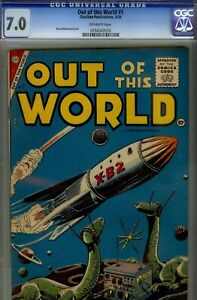 OUT OF THIS WORLD #1- CGC 7.0-HIGRADE VF- COPY 1956 CHARLTON SCI-FI COPY
