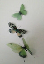 3 Green in Flight 3D Butterflies Wall Mounted Butterfly Mirror Art Accessories