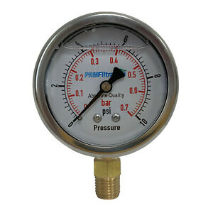 "Pressure Gauge PRM 0-10 PSI  2.5"" SS Case 1⁄4"" Brass NPT Bottom"