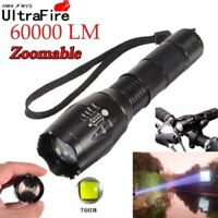 Zoomable 60000LM T6 5-Modes Tactical 18650 Flashlight Focus Light Torch USA #