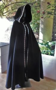 Classy Shawl With Edging Black Cape Medieval Coat Cashmere Wool Gugel