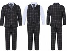 BRAND NEW BOYS FORMAL 5 PIECES  PROM WEDDING IN GREY CHECKERED SUIT AGES 1 TO 15