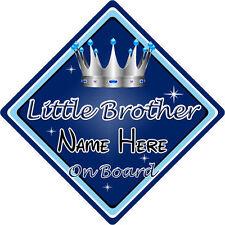 Personalizado De Niño/Bebé A Bordo Coche Firmar ~ Hermanito A Bordo ~ D. Azul