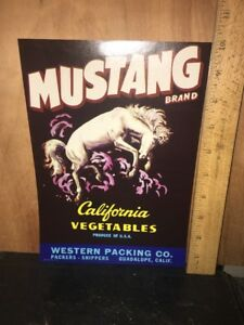 Mustang Brand California Vegetables Crate Label.Guadalupe,Calif.