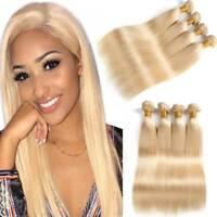 Brazilian 613 Straight Human Virgin Hair Extensions Blonde Remy Hair 4 Bundles