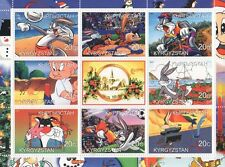 BUGS Bunny Elmer Fudd Wile e Coyote Cartoon Kirghizistan 2000 Gomma integra, non linguellato FRANCOBOLLO SHEETLET