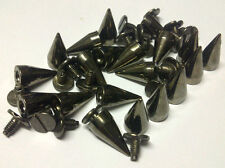 CraftbuddyUS 20pc 15mm Gunmetal Screw Spikes Punk Rock Leather Bag Shoe Studs