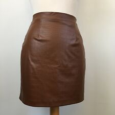 River Island Leather Look Pleather Brown Snake Effect A-Line Mini Skirt Size 6