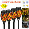 4 Pack Solar Flame Lights Flickering Garden Yard 12LED Tiki Torch Lamp Halloween