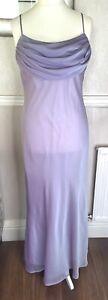 Dynasty London Y2K Lilac Purple Maxi Slip Dress UK 16 90's 00's Cowl Neck Party
