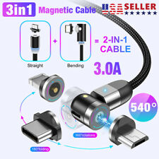 New 3 in 1 Magnetic Fast Charger Cable For Type-C Micro USB iPhone 180°+360° USA