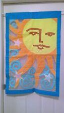 "Indoor/Outdoor Applique Summer Sunshine Star Large Flag 27"" x 41"" Euc!"