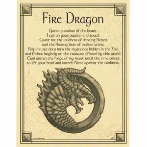 """Fire Dragon Poster 8.5 x 11"""" Parchment Print NEW Book of Shadows Prayer"""