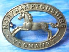 Badge- VINTAGE Northamptonshire Yeomanry Cap Badge (WM, Org) 2 Lugs