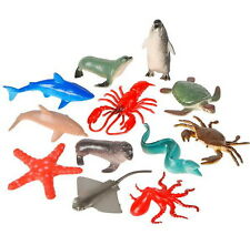 12 PLASTIC SEA LIFE ZOO ANIMALS SHARK, STINGRAY, OCTOPUS, PENGUIN, STARFISH, ETC