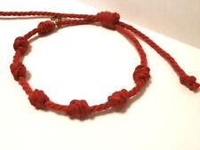 """Amuleto en Pulsera  """"Chanceux"""" 7 nudos rojos en hilo de algodón"""