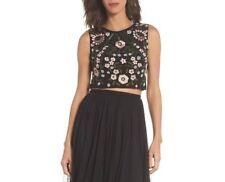 c68e19d8edf Adrianna Papell Womens Black Sleeveless Embellished Crew-neck Crop Top 12