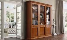 Bücherschrank Bücherregal Nussbaum Holz-Glastüren Klassischer Italienischer Stil