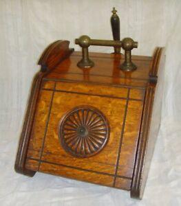 Antique Victorian Wooden Oak Purdonium Coal Scuttle Carved Front Shovel & Liner