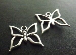 Butterfly Pendant Tibetan Antique Silver Tone Jewellery Pack of 10