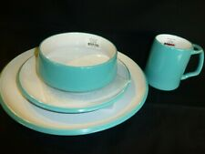 NEW DANSK Kobenstyle TEAL 4 piece place setting Dinner, Salad, Mug & Bowl