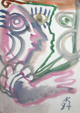 1994 ABSTRACT PORTRAIT FACES WATERCOLOR PAINTING, SIGNED