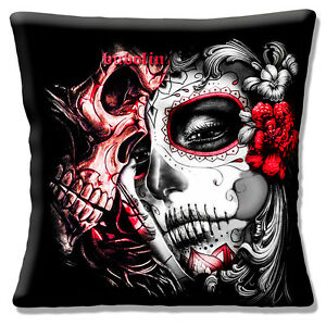 Mexican Sugar Skull Cushion Cover 16 inch 40 cm Day of the Dead Black Red White