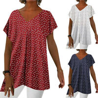 Damen Polka Dot Bluse Kurzarm Longshirt Baggy T-Shirt Oberteil Tops Übergröße DE