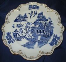 COALPORT Gilded Scalloped Edge Blue & White Willow Pattern Porcelain Cake Plate