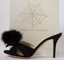 Charlotte olympia tailles uk 4.5 eu 37.5 us 7.5 soie noire caniche pom pom heels mules