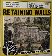 Ho Scale Woodland Scenics Retaining Wall Random Stone 3 sections 1261 Nip *