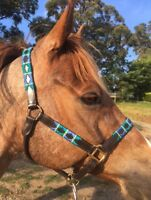Leather Polo Halter, Embroidered Leather Headstall Pony Cob Full Xfull