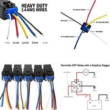 5Pcs 12VDC 5Pin 14AWG Auto Relay+Harness 30A/40 Amp For Heavy Duty Application