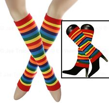 1 Pair 80s disco dance costume Leg Ankle Knee Arm Warmers Striped Bright Rainbow