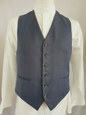 Vintage Mens Single Breast Blue Pinstripe Polywool Short Waistcoat Sz 38/40 KM69