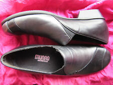 MUNRO SHOES BLACK/METALLIC LEATHER LOAFERS W ELASTICS SIZE 8SS /38 MADE IN USA !