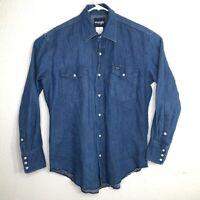 Vintage Wrangler Mens Size Medium Western Cowboy Blue Denim Pearl Snap Shirt