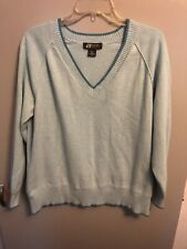 Eddie Bauer Sport Women's V-Neck Cotton Sweater Baby Blue Size XXL~Free Ship!