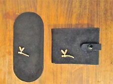 Vintage Wallet Glasses Case Black French Antelope with Glass Dragonfly jewels