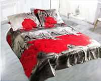 Duvet cover set Double King Quilt cover 3D 2 Pillow Cases red rose grey 80 GSM