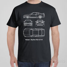 Funny cool T-shirt Nissan Skyline R33 GT-R blueprint JDM Japan drift