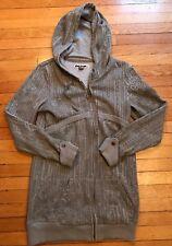 Volcom Full Zip Hoodie Snap Sleeve Brown Gray - Large